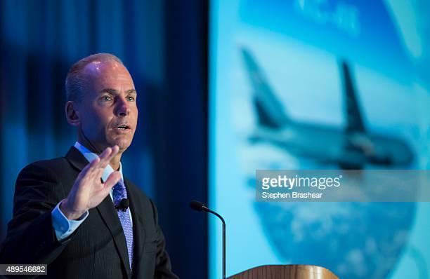 Boeing CEO Dennis Muilenburg gives a keynote speech during the SAE Aerotech Congress on September 22 2015 in Seattle Washington Muilenburg who took...