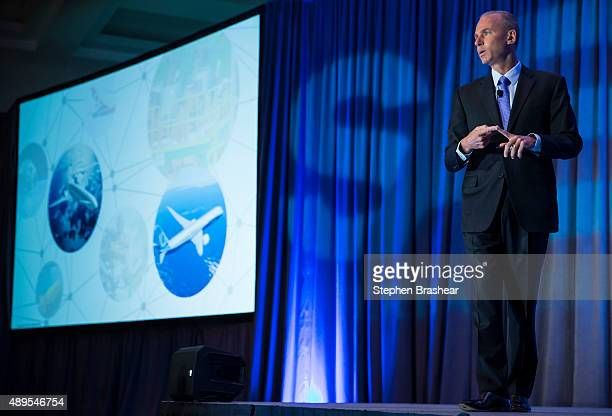 Boeing CEO Dennis Muilenburg gives a keynote speech during the SAE Aerotech Congress on September 22 2015 in Seattle Washington Muilenburg who took...