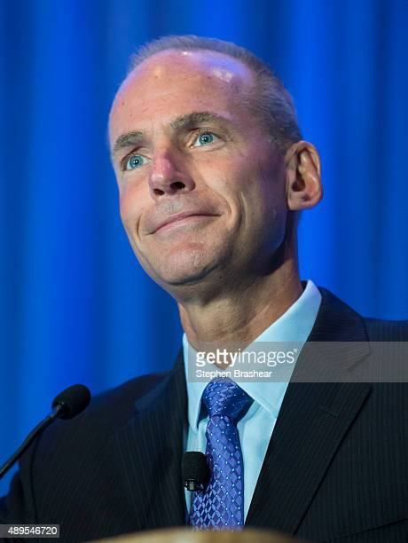 Boeing CEO Dennis Muilenburg listens to an audience question following a keynote speech during the SAE Aerotech Congress on September 22 2015 in...