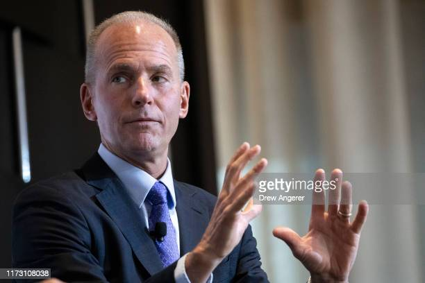 Boeing CEO Dennis Muilenburg speaks at an Economic Club Of New York event on October 2 2019 in New York City The FAA has recently ordered additional...