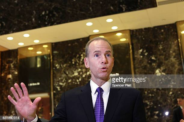 Boeing CEO Dennis Muilenburg speaks to the media at Trump Tower following a meeting with Pesidentelect Donald Trump on January 17 2017 in New York...