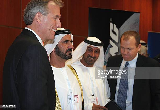 Boeing CEO Jim McNerney Emirati Defence Minster Sheikh Mohammad bin Rachid alMaktoum Emirates Airlines Chairman Sheikh Ahmed Bin Saed alMaktoum and...