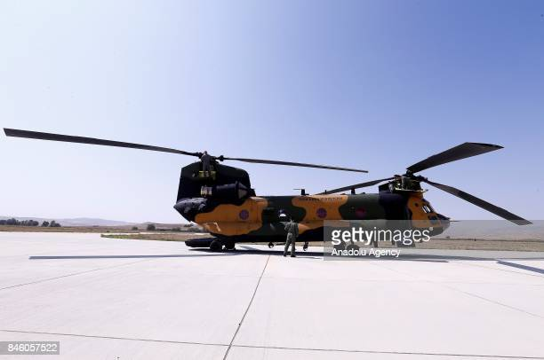 Boeing CH47 Chinook of Turkish Armed Forces is seen landed during a press tour at Senior Lieutenant Gurcan Ulucan Airfield in Ankara Turkey on...