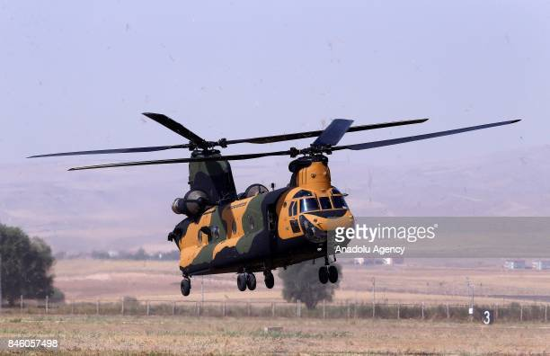 Boeing CH47 Chinook of Turkish Armed Forces prepares to land during a press tour at Senior Lieutenant Gurcan Ulucan Airfield in Ankara Turkey on...