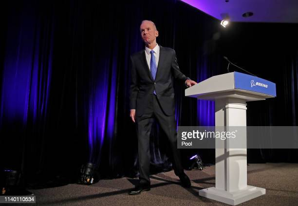 Boeing Chief Executive Dennis Muilenburg leaves a press conference after the annual shareholders meeting at the Field Museum on April 29 2019 in...