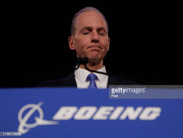 Boeing Chief Executive Dennis Muilenburg pauses during a press conference after the annual shareholders meeting at the Field Museum on April 29 2019...