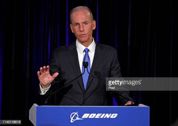 Boeing Chief Executive Dennis Muilenburg speaks during a press conference after the annual shareholders meeting at the Field Museum on April 29 2019...