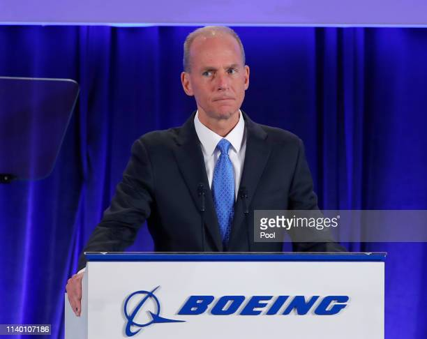 Boeing Chief Executive Dennis Muilenburg speaks during their annual shareholders meeting at the Field Museum on April 29 2019 in Chicago Illinois...