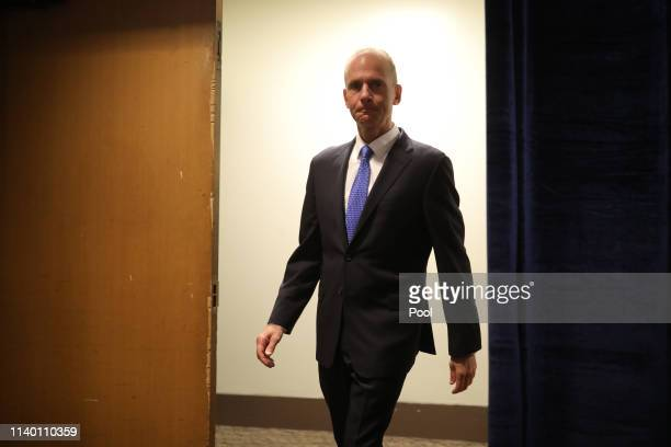 Boeing Chief Executive Officer Dennis Muilenburg arrives to speak at the Boeing Annual Shareholders Meeting on April 29 2019 in Chicago Illinois...