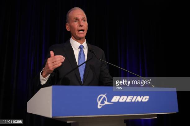 Boeing Chief Executive Officer Dennis Muilenburg speaks at the Boeing Annual Shareholders Meeting on April 29 2019 in Chicago Illinois Boeing...