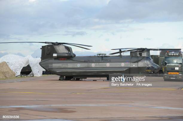 Boeing Chinook HC2 of No 27 Squadron, RAF Odiham at the Royal International Air Tattoo at RAF Fairford, Gloucestershire.