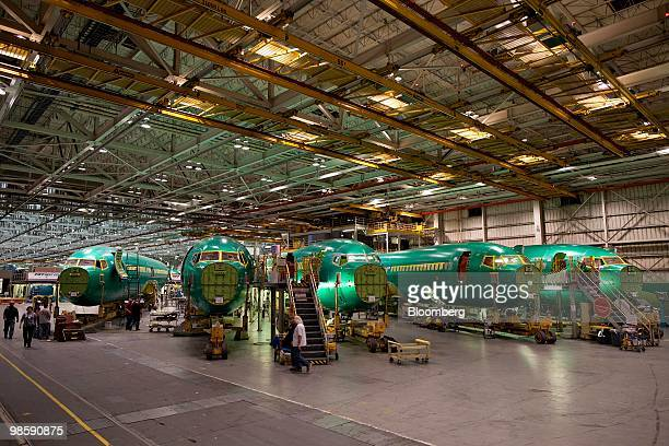 Boeing Co 737 fuselage sections sit on the assembly floor at Spirit AeroSystems in Wichita Kansas US on Thursday March 11 2010 Boeing Co's...