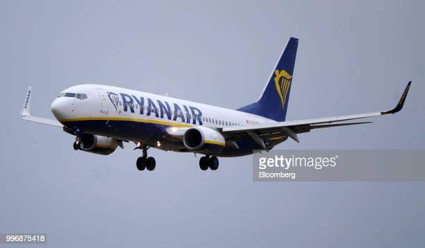 A Boeing Co 737 passenger aircraft operated by Ryanair Holdings Plc comes into land at Dublin Airport in Dublin Ireland on Thursday July 12 2018...