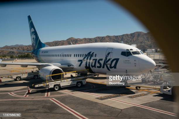 Boeing Co. 737-700 aircraft operated by Alaska Airlines Inc. At Hollywood Burbank Airport in Burbank, California, U.S., on Wednesday, April 28, 2021....
