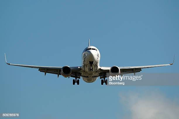Boeing Co. 737-800 aircraft operated by Virgin Australia Holdings Ltd. Prepares to land at Sydney Airport in Sydney, Australia, on Monday, Feb. 8,...