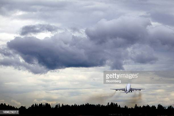 A Boeing Co 747 Dreamlifter cargo aircraft used to deliver components of the 787 Dreamliner from manufacturing facilities around the world for final...