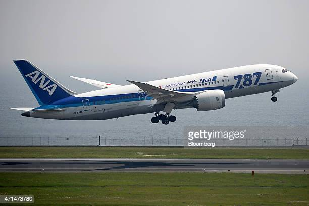 A Boeing Co 787 Dreamliner aircraft operated by All Nippon Airways Co takes off at Haneda Airport in Tokyo Japan on Tuesday April 28 2015 ANA...