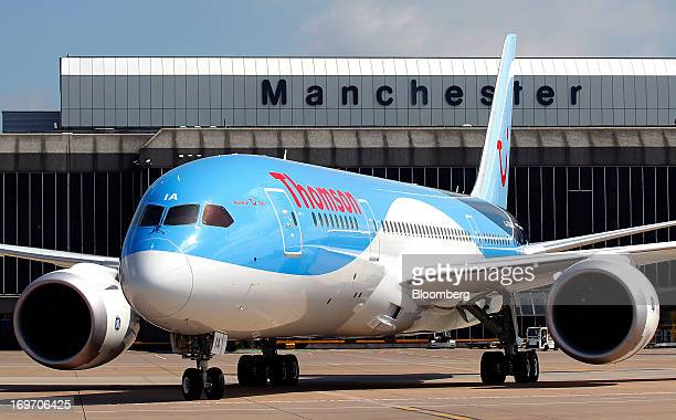A Boeing Co 787 Dreamliner aircraft operated by Thomson Airways taxis on the runway after landing at Manchester Airport in Manchester UK on Friday...