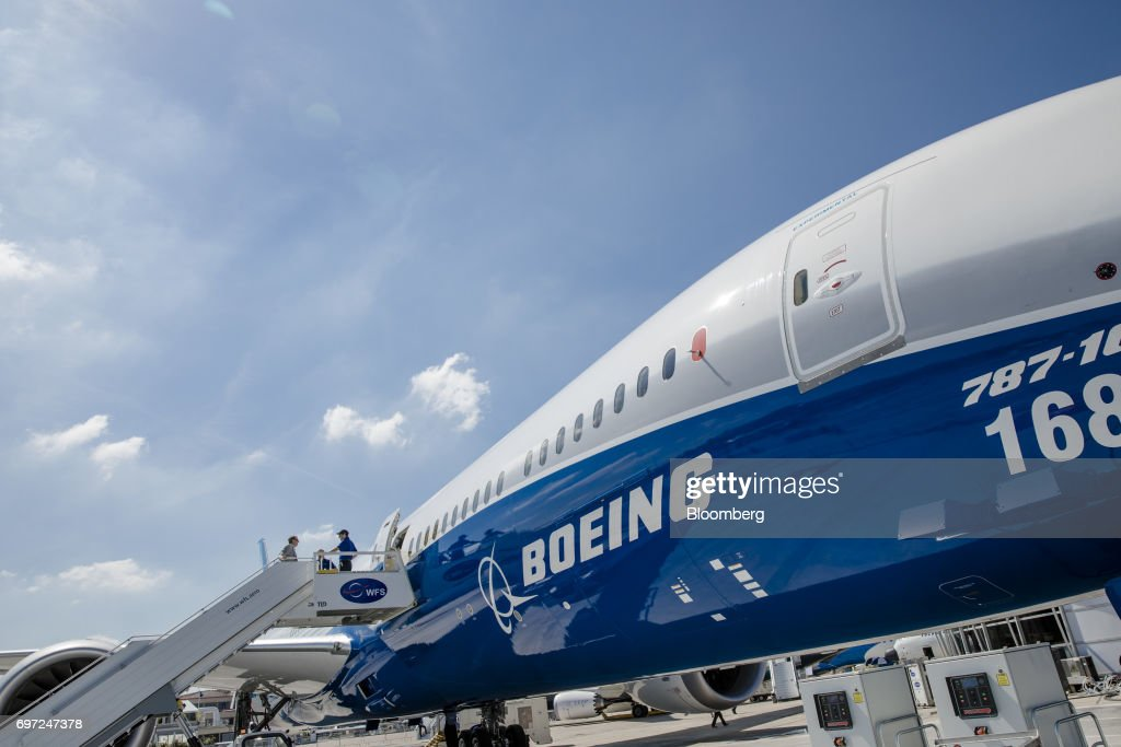 A Boeing Co. 787-10 aircraft stands on the tarmac ahead of the 53rd International Paris Air Show at Le Bourget, in Paris, France, on Sunday, June 18, 2017. The show is the world's largest aviation and space industry exhibition and runs from June 19-25. Photographer: Marlene Awaad/Bloomberg via Getty Images