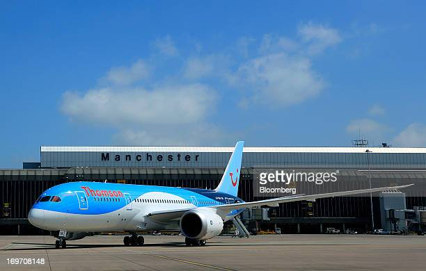 A Boeing Co 7878 Dreamliner aircraft operated by Thomson Airways taxis on the tarmac after landing at Manchester Airport in Manchester UK on Friday...