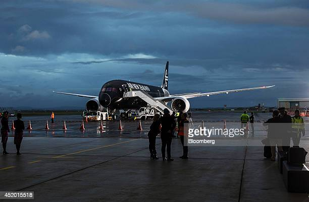 A Boeing Co 7879 Dreamliner aircraft operated by Air New Zealand Ltd stands on the tarmac after touching down at Auckland International Airport in...