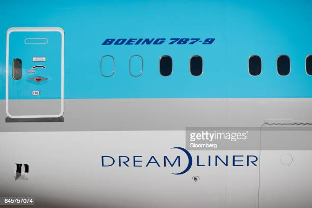 A Boeing Co 7879 Dreamliner passenger aircraft operated by Korean Air Lines Co stands on the tarmac during a media preview at Incheon International...