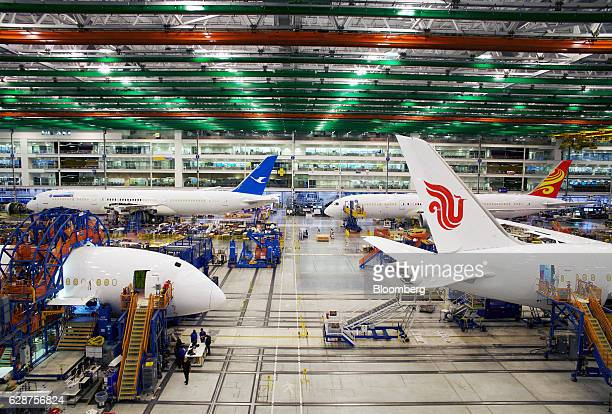 Boeing Co Dreamliner 787 planes sit on the production line at the company's final assembly facility in North Charleston South Carolina US on Tuesday...