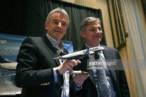 Boeing Commercial Airplanes President CEO Ray Conner and Ryanair CEO Michael O'Leary pose after signing a $156 billion purchase agreement on March 19...