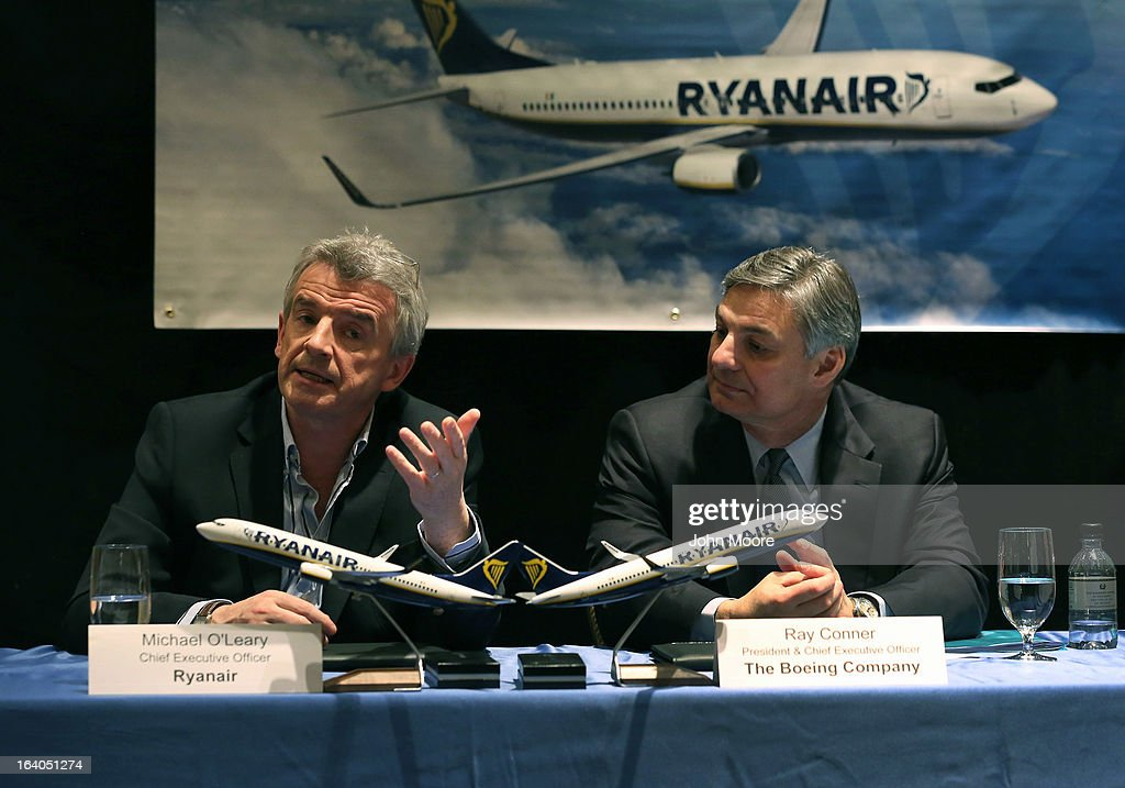 Boeing Commercial Airplanes President & CEO Ray Conner (R), and Ryanair CEO Michael O'Leary hold a press conference after signing a $15.6 billion purchase agreement on March 19, 2013 in New York City. Ryanair, Europe's largest low-cost air carrier, agreed to buy 175 new Next Generation 737-800 airplanes. According to Ryanair, the deal will create more than 3,000 new jobs for pilots, cabin crew and engineers across Europe.