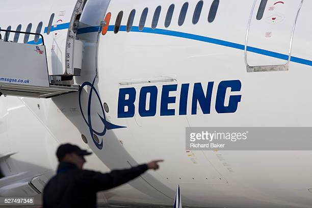 Boeing employee and company 787 Dreamliner at the Farnborough Airshow On its first flight outside of the US during its testing programme the newest...