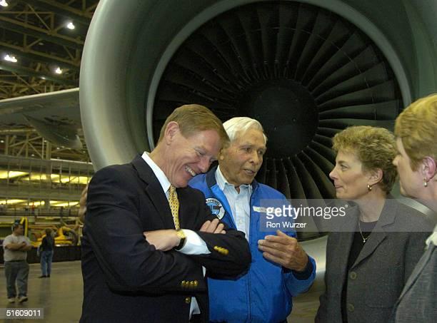 Boeing Executive Vice President Alan Mulally Boeing retired pilot Lew Wallick Boeing Vice President Carolyn Corvi and Renton Mayor Kathy...