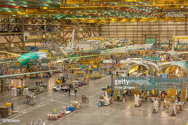 Boeing factory assembley line for 777 commercial airliner.