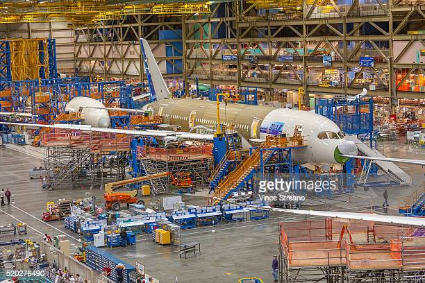 Boeing factory assembley line for 787 commercial airliner.