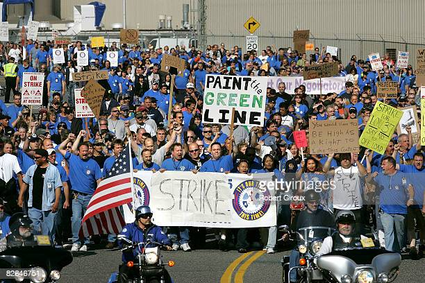Boeing machinists march to their IAW Union local September 3 2008 in Everett Washington The union members are heading to vote on two proposals one on...