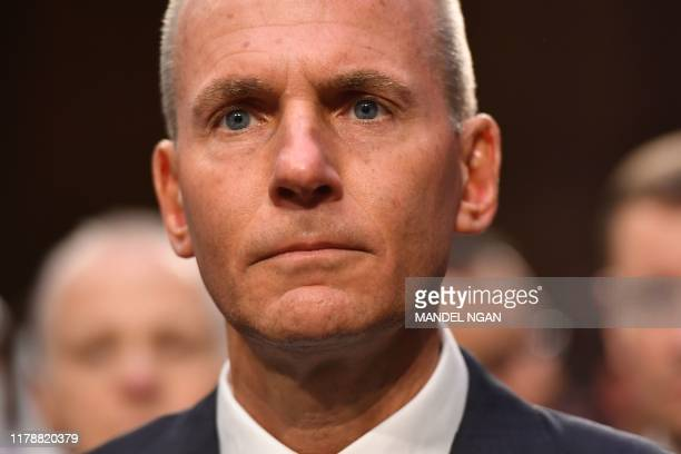 Boeing president and CEO Dennis Muilenburg arrives for a full committee hearing on Aviation Safety and the Future of Boeing's 737 MAX on Capitol Hill...