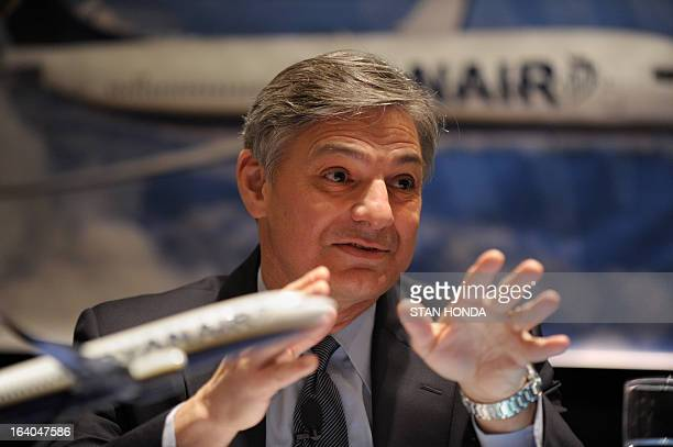Boeing President and CEO Ray Conner announces a commitment by Ryanair to order 175 Boeing Next-Generation 737-800s worth USD $15.6 billion at a press...