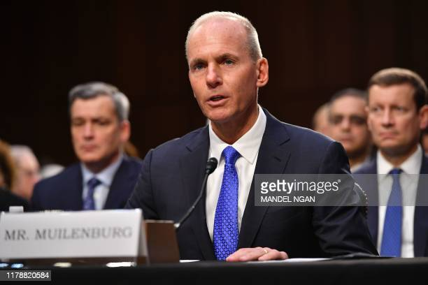 Boeing President and Chief Executive Officer Dennis Muilenburg testifies before the Senate Committee on Commerce Science and Transportation on...