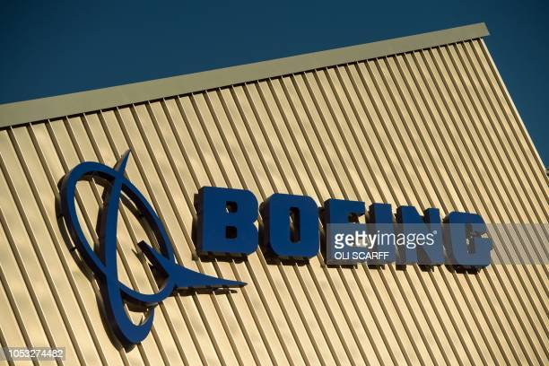 Boeing signage is seen on the outside of the Boeing Sheffield factory the aerospace company's first manufacturing facility in Europe in Sheffield...