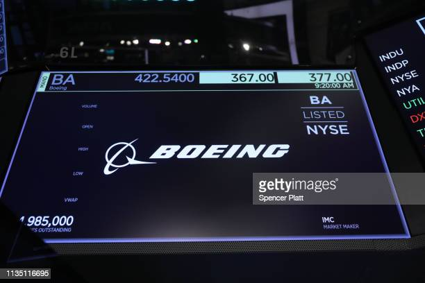 Boeing stock sign is displayed on a screen on the floor of the New York Stock Exchange on March 11 2019 in New York City Markets are reacting to...
