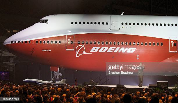 Boeing Vice President and General Manager Airplane Programs Boeing Commercial Airplanes Pat Shanahan speaks during an unveiling ceremony of the 7478...