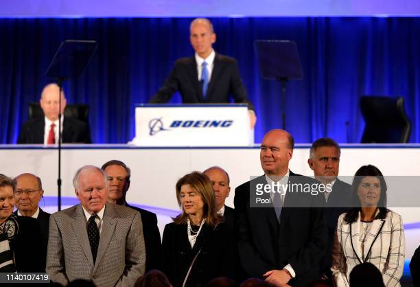Boeing's Chairman President and CEO Dennis Muilenburg introduces Boeing's Board of Directors during their annual shareholders meeting at the Field...