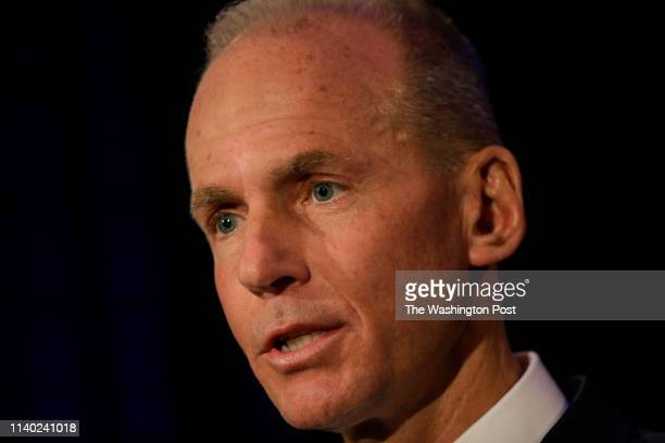 Boeing's Chairman President and CEO Dennis Muilenburg speaks during a news conference after Boeing's Annual Meeting of Shareholders in Chicago...