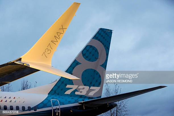 Boeings first 737 MAX named the Spirit of Renton is parked on the tarmac at the Boeing factory in Renton Washington on December 8 2015 The latest...