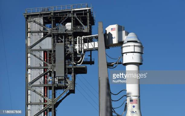 Boeing's first CST-100 Starliner spacecraft sits atop a United Launch Alliance Atlas V rocket on pad 41 at Cape Canaveral Air Force Station on...