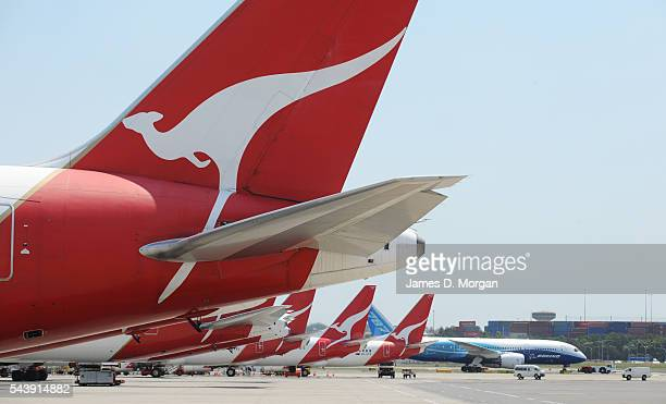 Boeing's latest plane the 787 lands on November 15 2011 in Sydney AustraliaQantas are the main customer in Australia and she is pictured passing the...