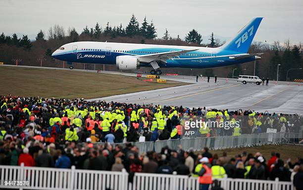 Boeing's long delayed new 787 Dreamliner prepares to take to the sky at Paine Field in Everett Washington on December 15 2009 Under dreary skies the...