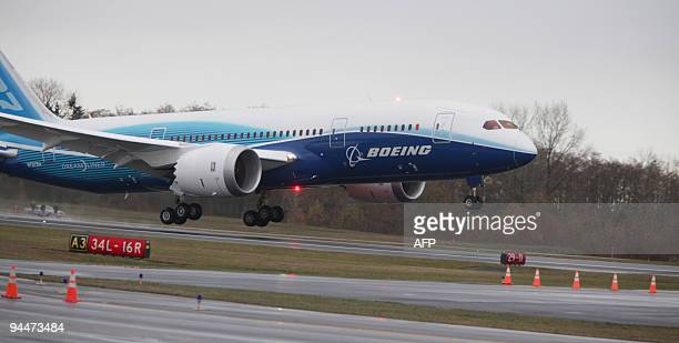 Boeing's long delayed new 787 Dreamliner takes to the sky at Paine Field in Everett Washington on December 15 2009 Under dreary skies the Dreamliner...
