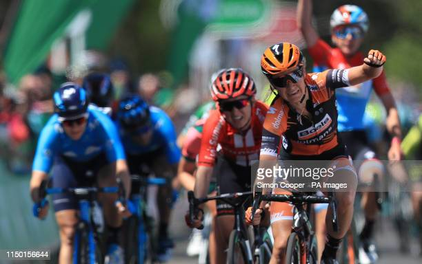 Boels Dolmans Cycling Team's Amy Pieters celebrates winning stage six of the OVO Energy Women's Tour