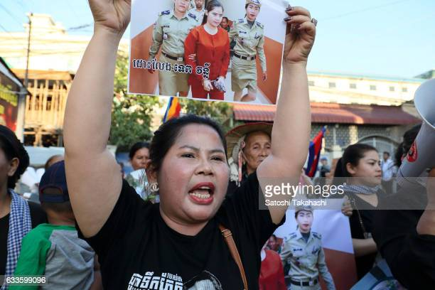 Boeng Kak community activist Bo Chhor Vy calling for the release of prominent woman land rights activist Tep Vanny four officials for human rights...