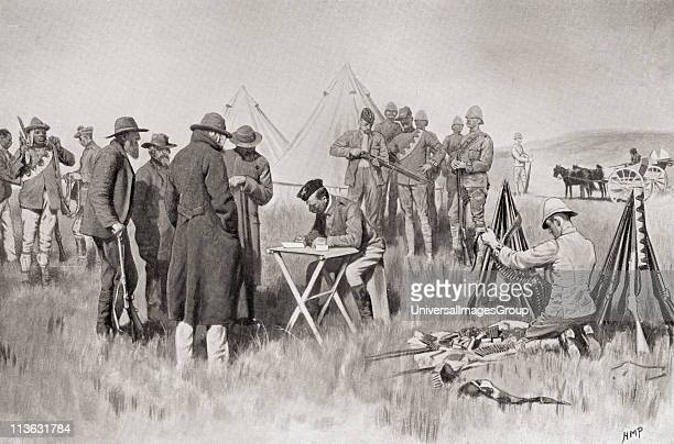Boer farmers taking the oath of neutrality at Greylingstad South Africa during the second Boer War From South Africa and the Transvaal War by Louis...